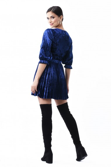 Rochie catifea Lille Couture Patricia Albastru