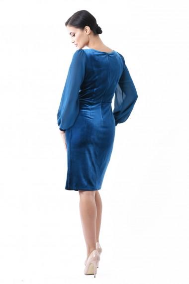 Rochie de seara midi Lille Couture Camelia turcoaz