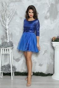 Rochie de seara scurta din paiete Elena albastru