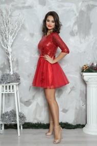 Rochie de seara scurta din paiete Elena rosu