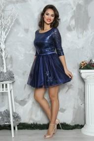 Rochie de seara scurta din paiete Elena bleumarin