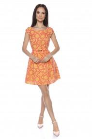 Rochie midi Lille Couture print floral portocaliu