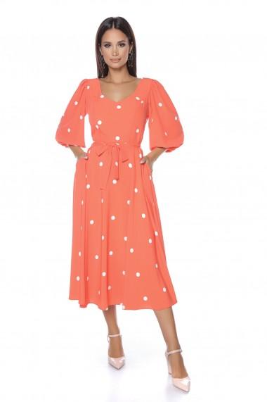 Rochie midi Lille Couture Roxette portocaliu