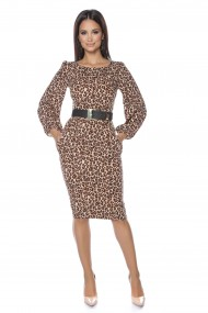 Rochie midi Lille Couture Amy animal print