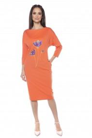 Rochie midi Lille Couture Flavia portocalie
