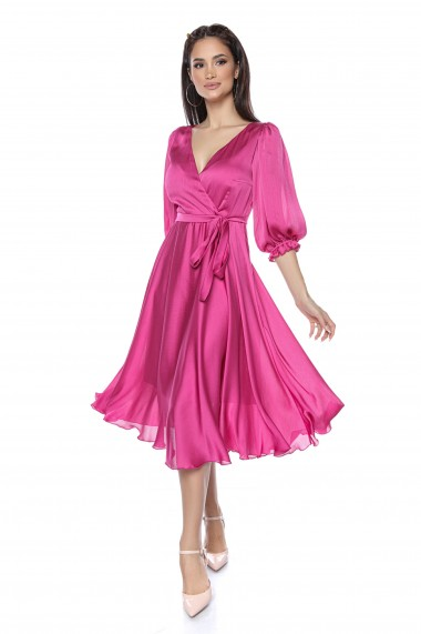Rochie midi Lille Couture Angelina roz