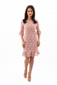 Rochie din dantela Lille Couture roz prafuit