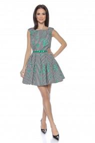 Rochie de zi scurta cu dungi si print floral Lille Couture Nina