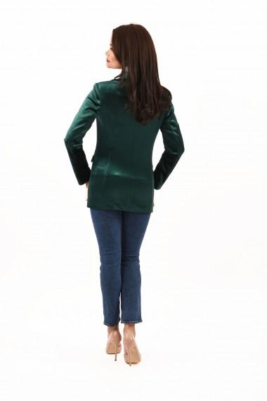 Sacou elegant din catifea Lille Couture Ada verde smarald