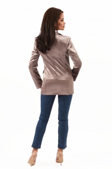 Sacou elegant din catifea Lille Couture Ada nisipiu