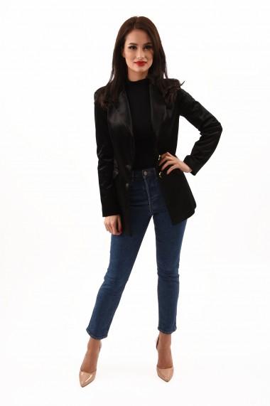 Sacou elegant din catifea Lille Couture Ada negru