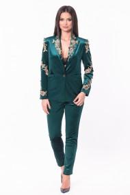 Sacou elegant cu aplicatii din catifea Lille Couture Ada verde smarald