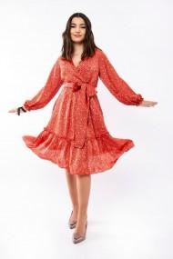 Rochie de zi Lille Couture Augustina rosie cu buline