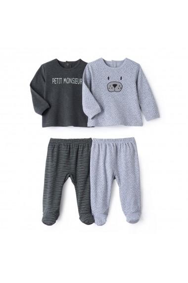 Set 2 perechi pijamale La Redoute Collections GCS830 gri - els