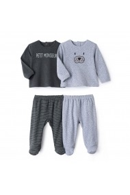 Set 2 perechi pijamale La Redoute Collections GCS830 gri