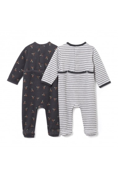 Set 2 perechi pijamale La Redoute Collections LRD-GCS856 gri