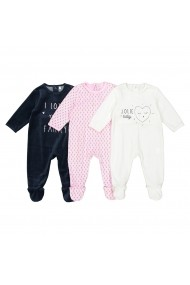 Set 3 perechi pijamale La Redoute Collections GDV747_Blanc-rose-bleu Multicolor