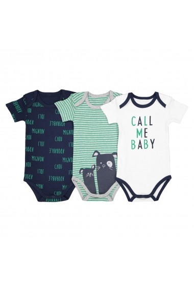Set 3 body-uri La Redoute Collections GDW087_Blanc-bleu-vert Alb