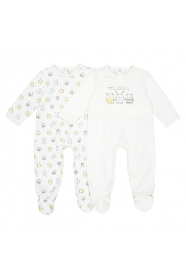 Set 2 perechi pijamale La Redoute Collections GDW159 alb