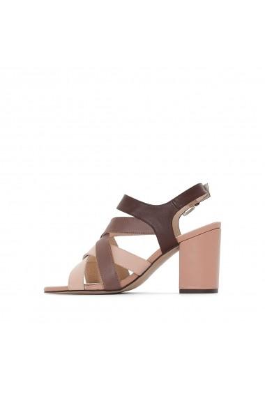 Sandale cu toc La Redoute Collections GEG659 maro - els