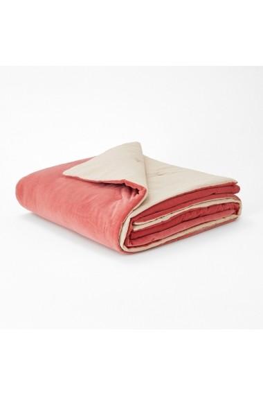 Cuvertura de pat Velvet La Redoute Interieurs GEY181 90x190 cm roz