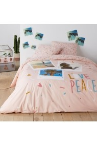 Husa de pilota Love Peace La Redoute Interieurs GEZ335 200x200 cm roz