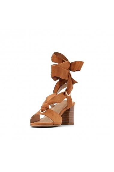 Sandale cu toc La Redoute Collections GFL014 bej