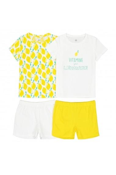 Set 2 pijamale La Redoute Collections GFO073 galben - els