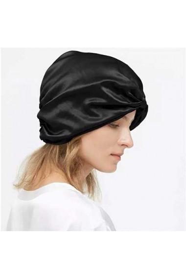 Boneta Fashion Turban din matase naturala, Black