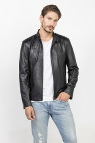 Jacheta din piele Jimmy Sanders MAS-18F CTM22006 BLACK Negru