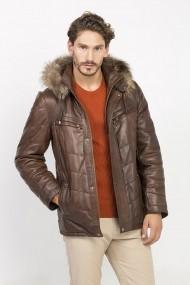 Jacheta din piele Jimmy Sanders MAS-18F CTM22007 BROWN Maro