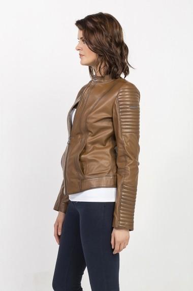 Jacheta din piele Jimmy Sanders MAS-18F CTW21001 CAMEL Bej - els