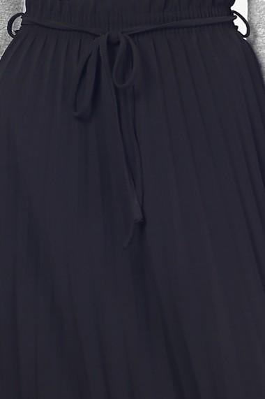 Fusta lunga plisata din poliester Assuili ASC915 neagra