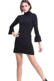 Rochie de zi din casmir si viscoza Assuili ASF710 neagra