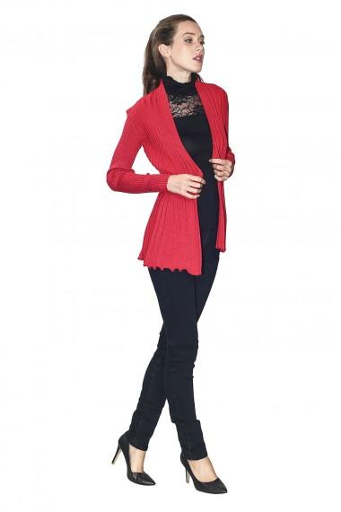 Cardigan din rayon Assuili ASF871 Rosu