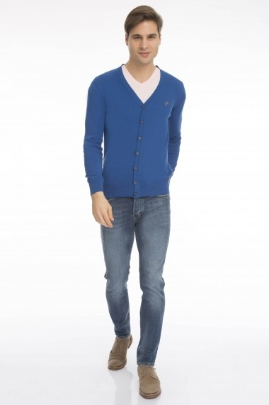 Cardigan Denim Culture B-43800-7 Albastru