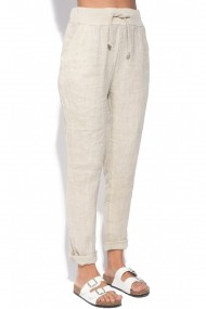 Pantaloni slim Le Jardin du Lin E18-46 Bej