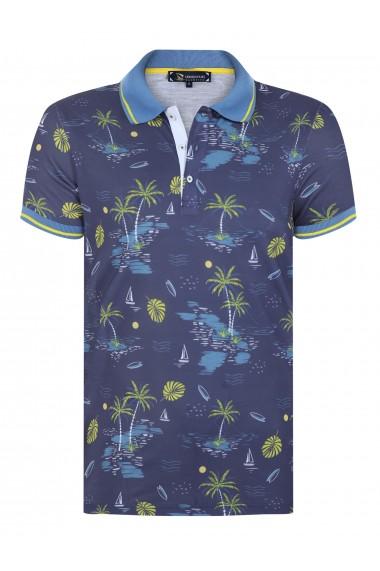 Tricou Polo cu print digital GIORGIO DI MARE GI159205 Bleumarin