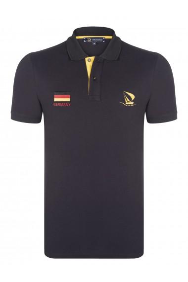Tricou Polo cu steagul Germaniei GIORGIO DI MARE GI180070 Negru