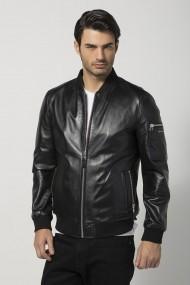 Jacheta din piele Jimmy Sanders JSLJM86161 BLACK Negru