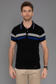 Tricou Polo din tricot Paul Parker PA762615 Negru