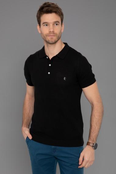 Tricou Polo din tricot Paul Parker PA879830 Negru