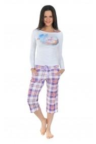 Pijama lunga Playboy PBN107PURPLE Alb