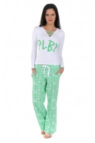 Pijama lunga Playboy PBN109GREEN Alb