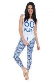 Pijama lunga Playboy PBN125WHITE Alb