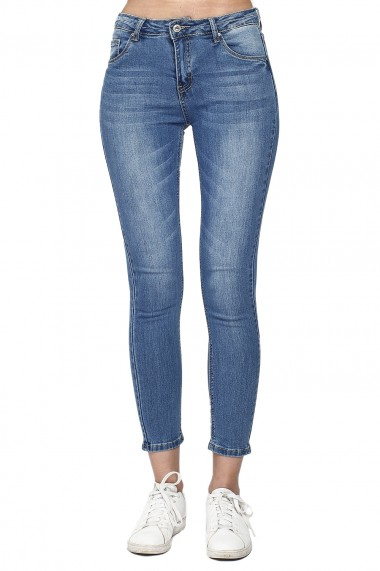 Pantaloni slim din bumbac Assuili A21-13 albastri