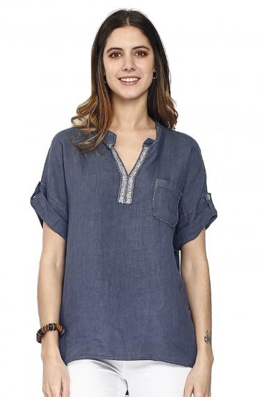Bluza de vara Le Jardin du Lin E21-10 Bleumarin