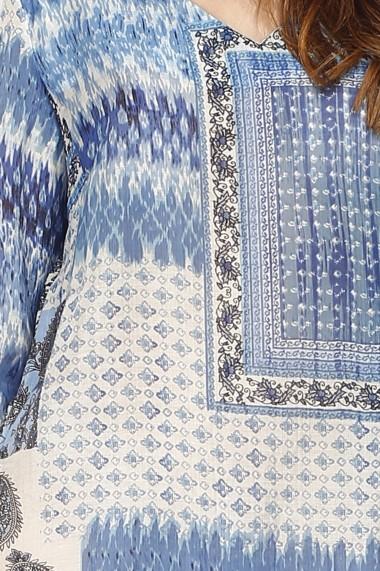 Rochie de zi scurta din bumbac William de Faye WF168 albastra