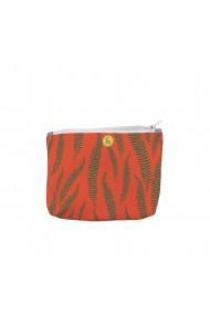 Portofel tip Pouch Handmade Original Mulewear Botanic Flori Ferigi Orange In-Fern-O Multicolor Medium 22x19 cm