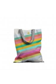 Geanta Handmade Tote Bag Basic Original Mulewear Abstract Dungi Optimiste Optimistic Stripes Multicolor 43x37 cm